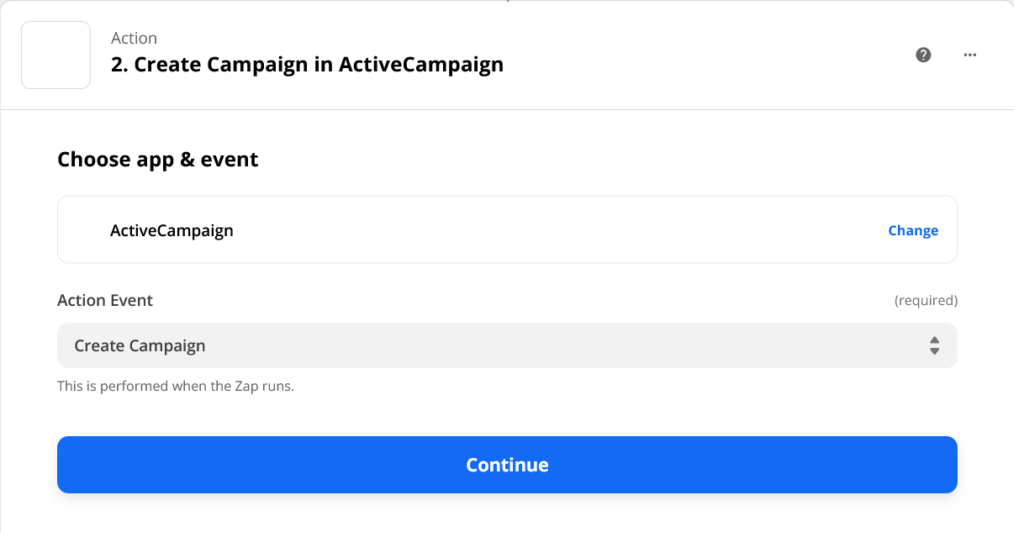 ActiveCampaign Action Event in Zapier