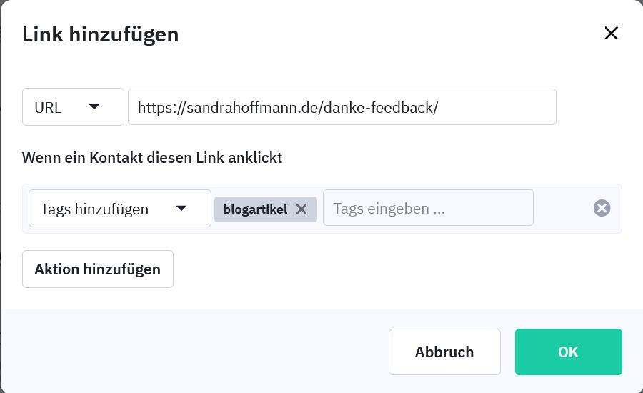 Link und Aktion hinzufügen innerhalb einer Kampagne in ActiveCampaign