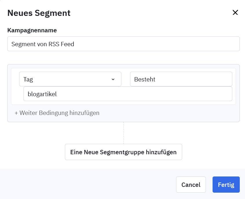 Neues Segment in ActiveCampaign anlegen