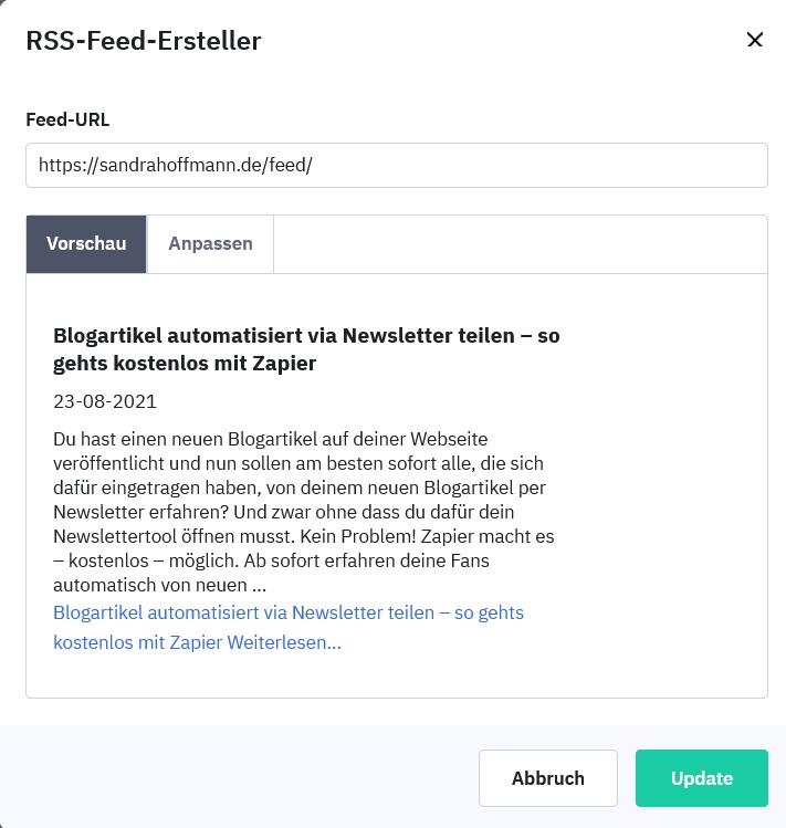 RSS-Feed Vorschau