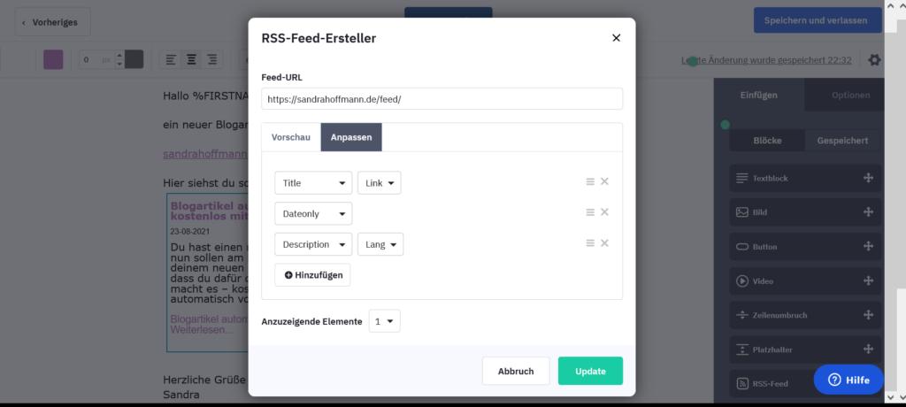 Block RSS-Feed anpassen