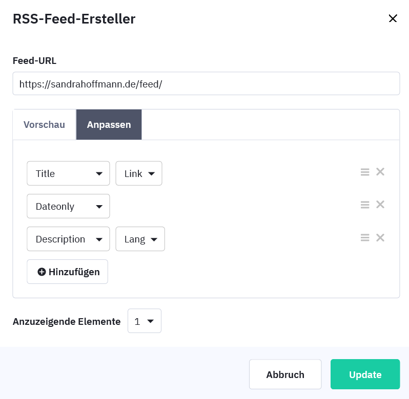 RSS-Feed anpassen