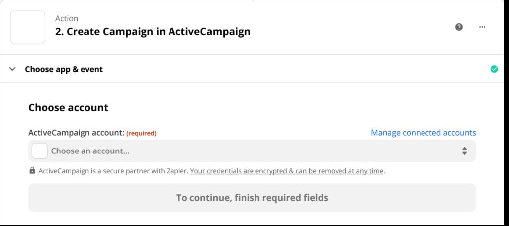 ActiveCampaign Account in Zapier auswählen