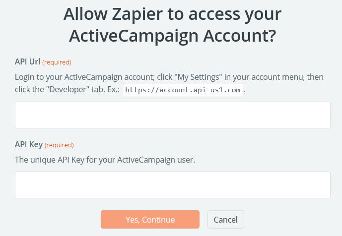 ActiveCampaign Account in Zapier hinzufügen