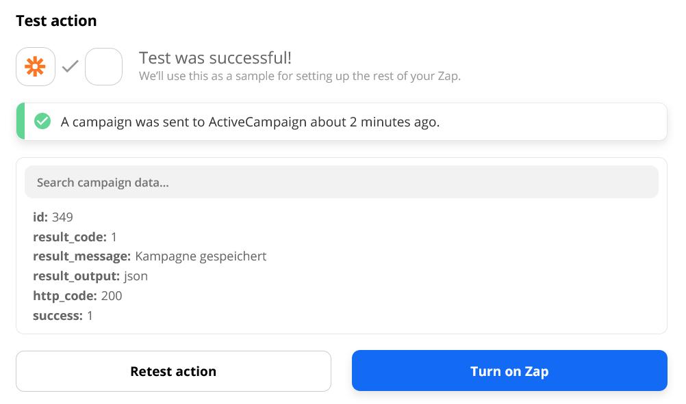 Test action successful in Zapier